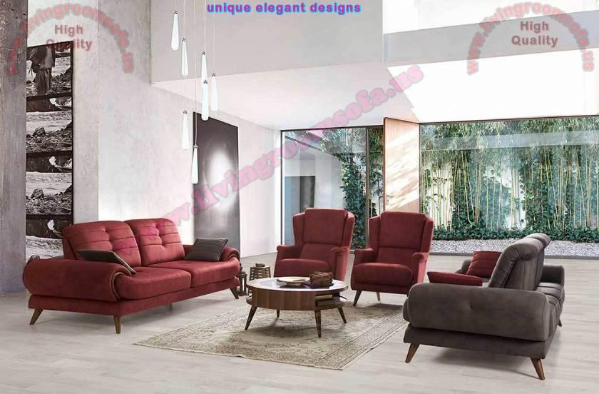 Red Fabric Living Room Furniture Design