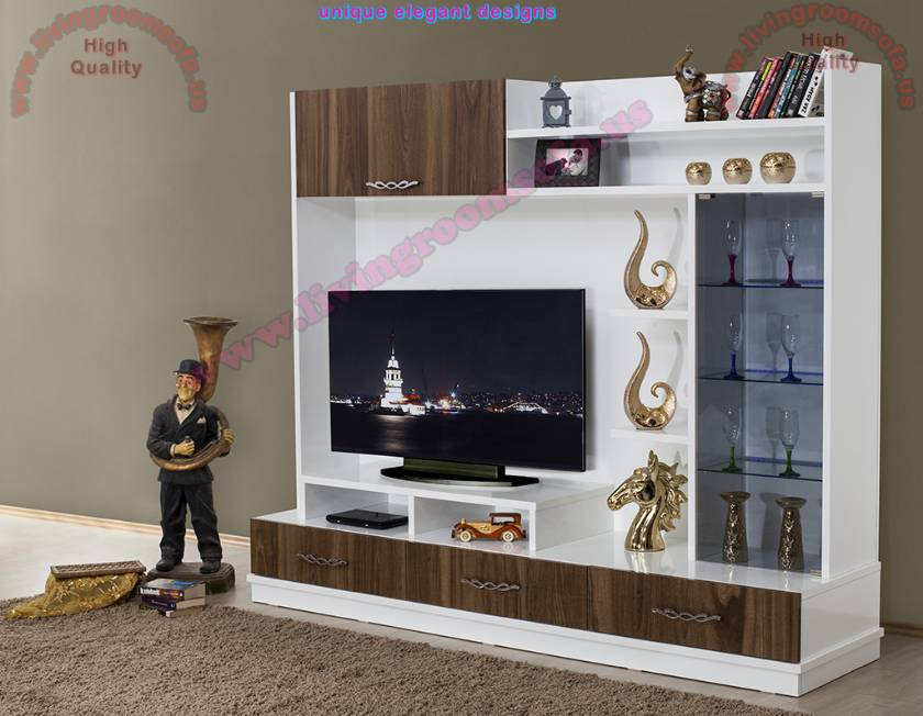 White and Brown Tv Stand Entertainment Stands