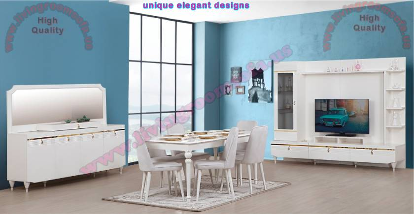 White Luxury Dining Room Set Design İdeas