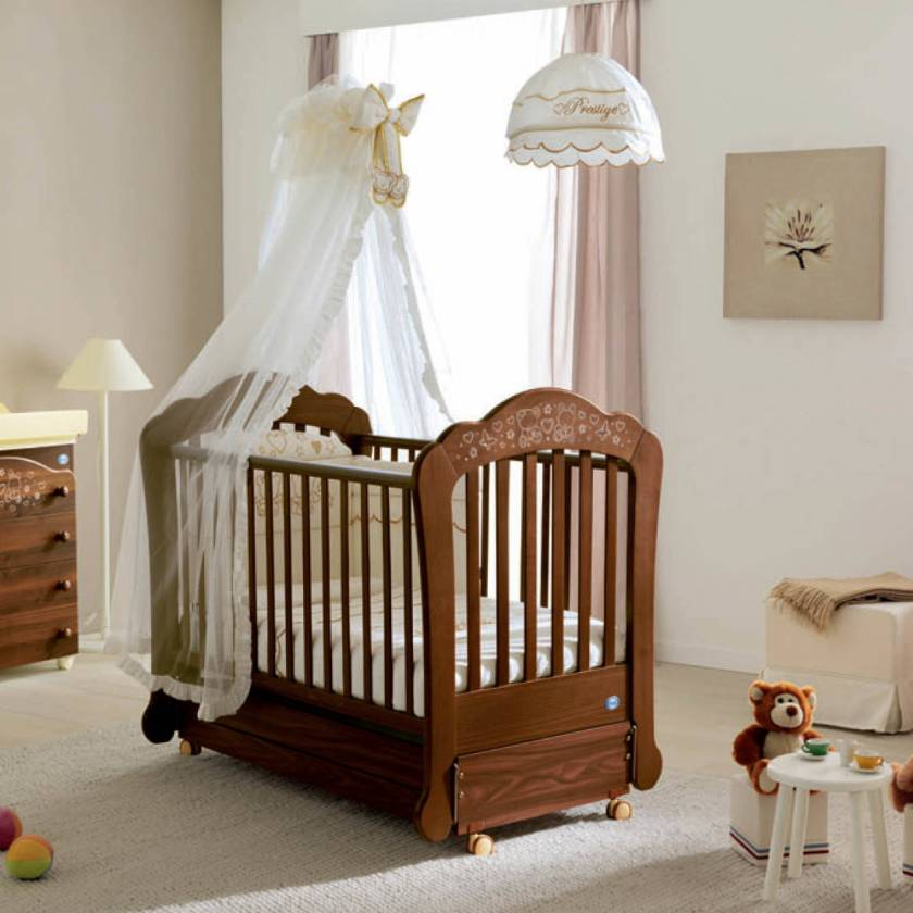 Wooden Brown Crib Model Wheelchair Modern Antique Crib Model