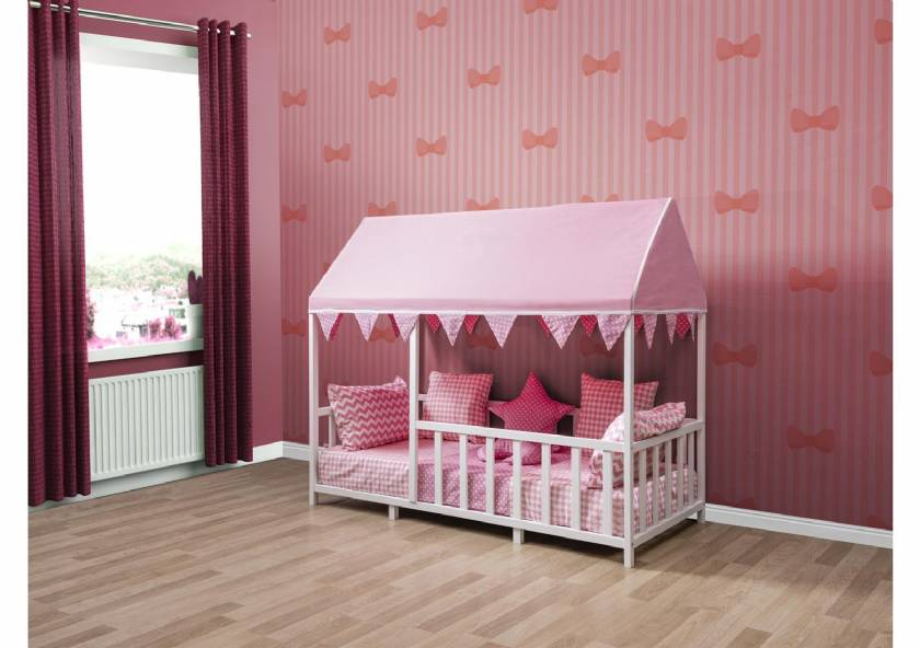 Wooden Montessori Baby Girl Cradle Pink Room Design