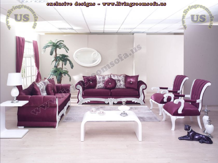 Avantgarde living room sofa set maroon shiny