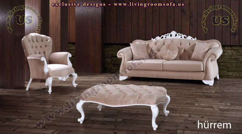 Avantgarde sofa set with avantgarde ottoman