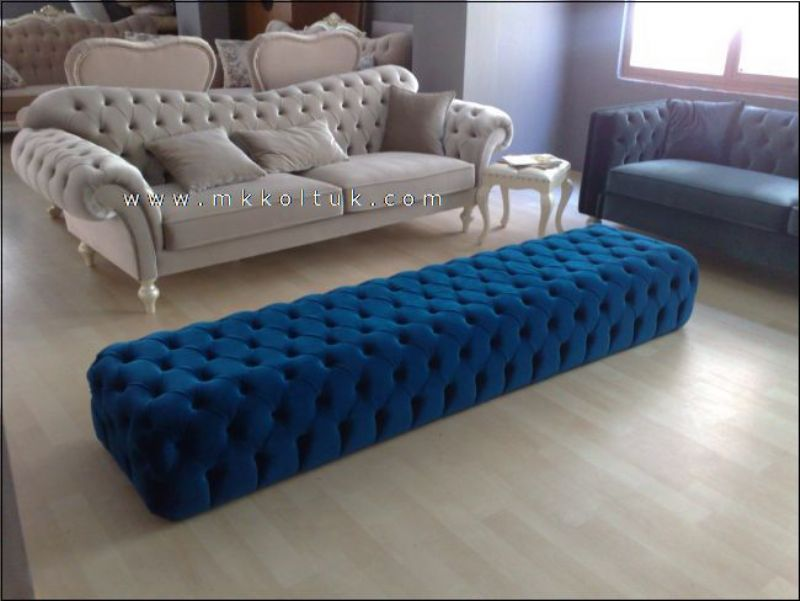 Velvet chesterfield seat sofa in cream high quailty for Blue couches for sale