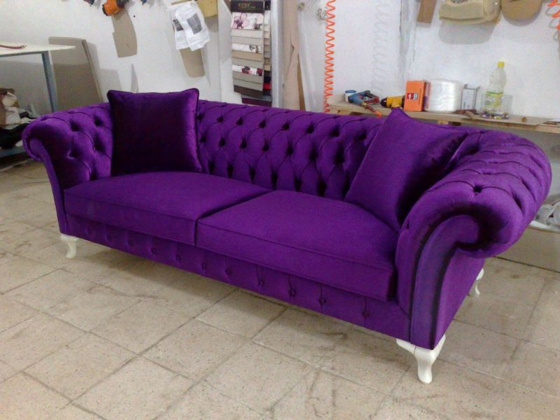 Velvet chesterfield sofa purple blue pink bright for Purple sofa