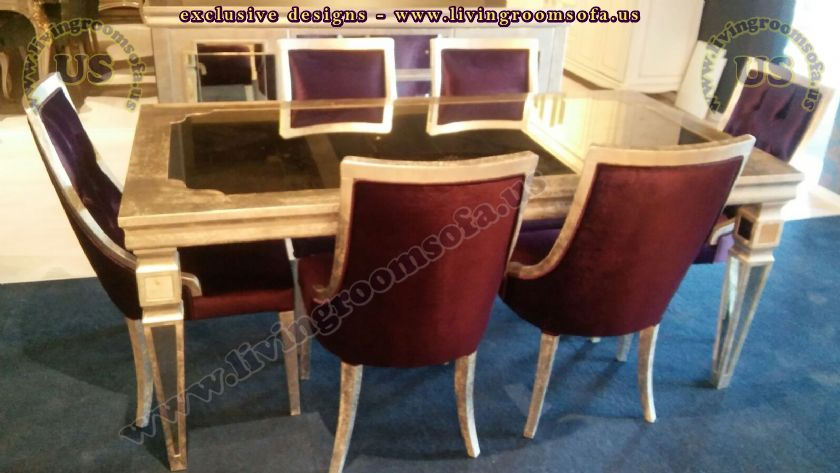 Gold leaf dining table and chairs Dining Room Furniture