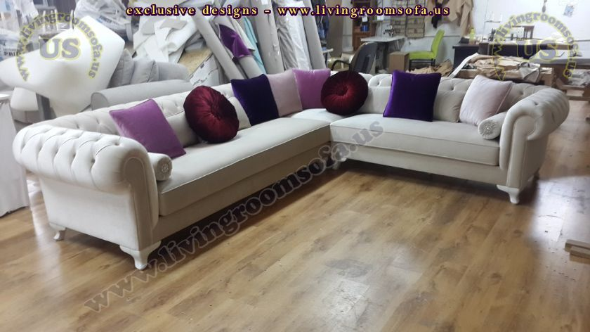 L shaped chesterfield soda White Ice velvet new
