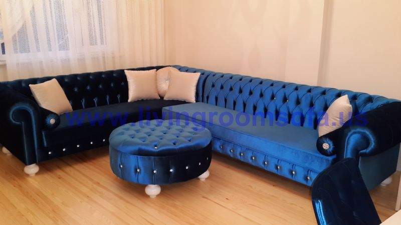 Navy Blue Velvet Chesterfield Sofa Large L Shaped