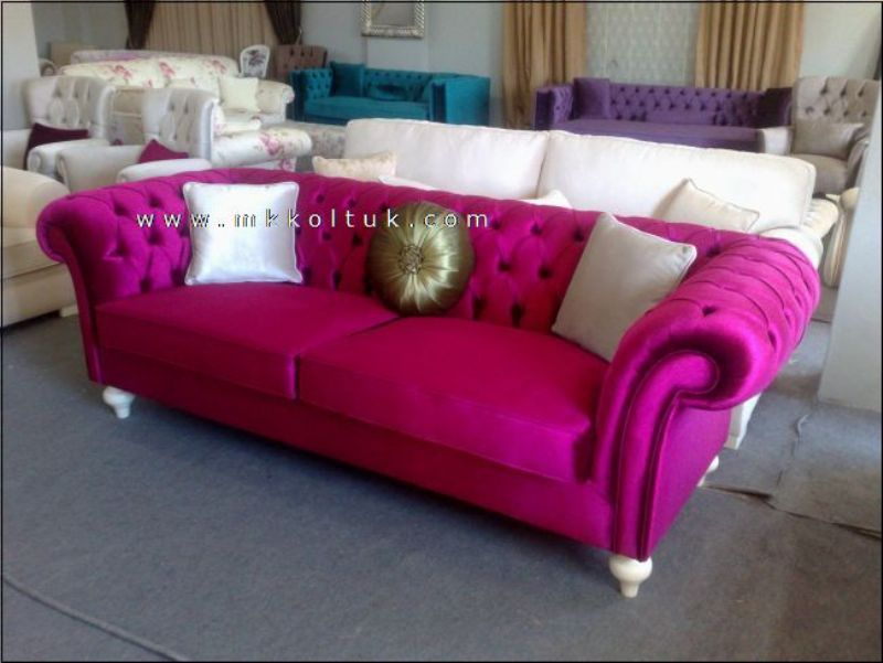 Velvet Chesterfield Sofa Purple, Blue, Pink, Bright Chesterfield Sofa Living Room, Hotel Room