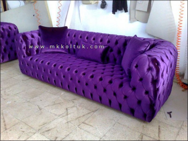 Purple Velvet Chesterfield Sofa