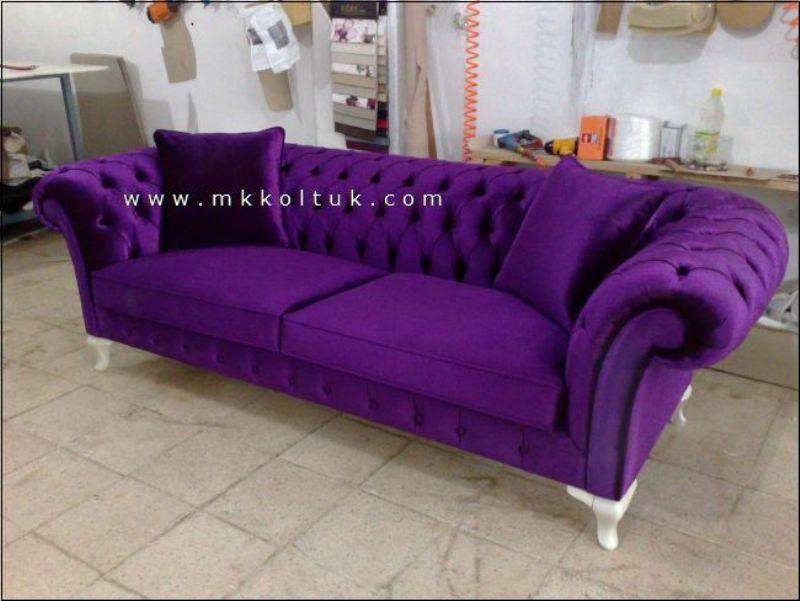Velvet Chesterfield Sofa Purple Blue Pink Bright