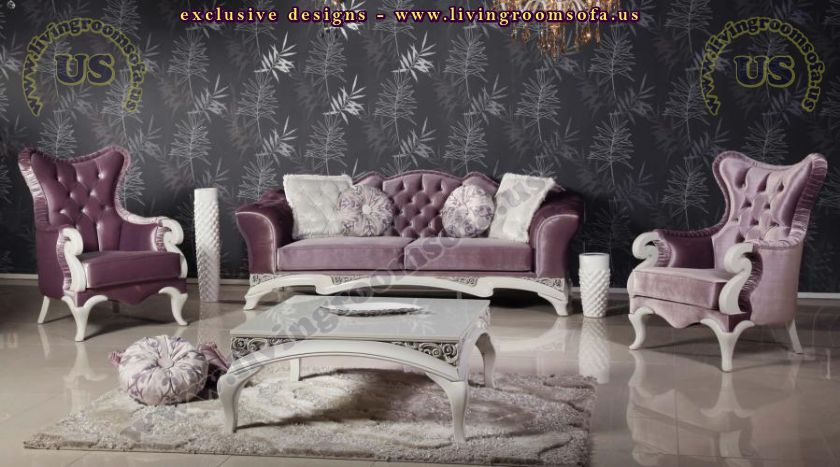 Shiny maroon avantgarde living room sofa sets