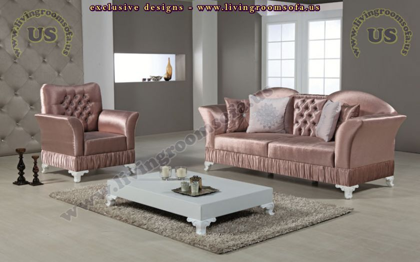 Shiny pink avantgarde sofa set