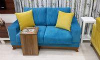Blue fabric cheapest sofa