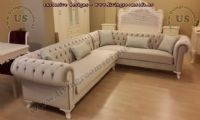 Gray lake velvet chesterfield sofa L shaped new