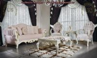 avantgarde sofa set pink and white carved design