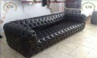 black leather modern style chesterfield couch