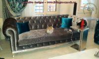 black velvet shiny chesterfield couch design