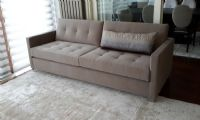 brown fabric living room sofa