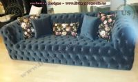 dark blue full quilted chesterfild sofa