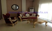 gold leaf red classic sofa