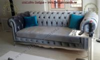 gray velvet classic chesterfield couch design