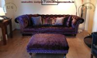 maroon chesterfield couch with ottoman