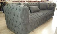 modern chesterfield sofa gray velvet