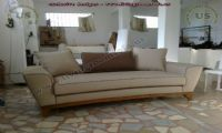 modern couch wooden legs beige fabric