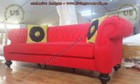 red fabric elegant sofas quilted modern classical
