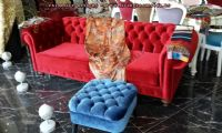 red velvet chesterfield couch