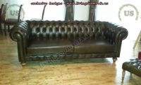 shiny leather chesterfield couch design