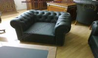 single seat classic chesterfield black leather
