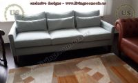 tiny elegant modern sofa bed beige fabric