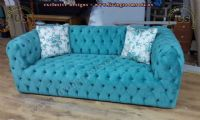 turquoise blue quilted chesterfield sofa