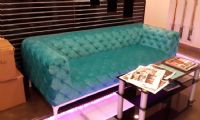 turquoise full quilted chesterfield sofa