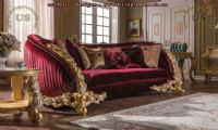 wonderful classic red couch fabric carved wooden