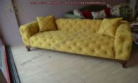 yellow fabric couch decorative design
