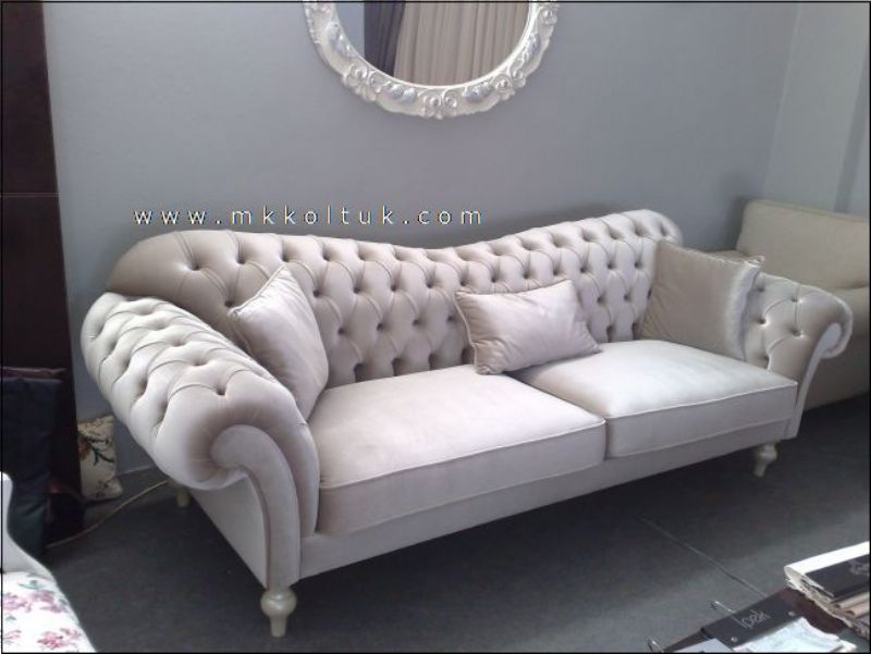 Velvet Chesterfield Seat Sofa In Cream High Quailty