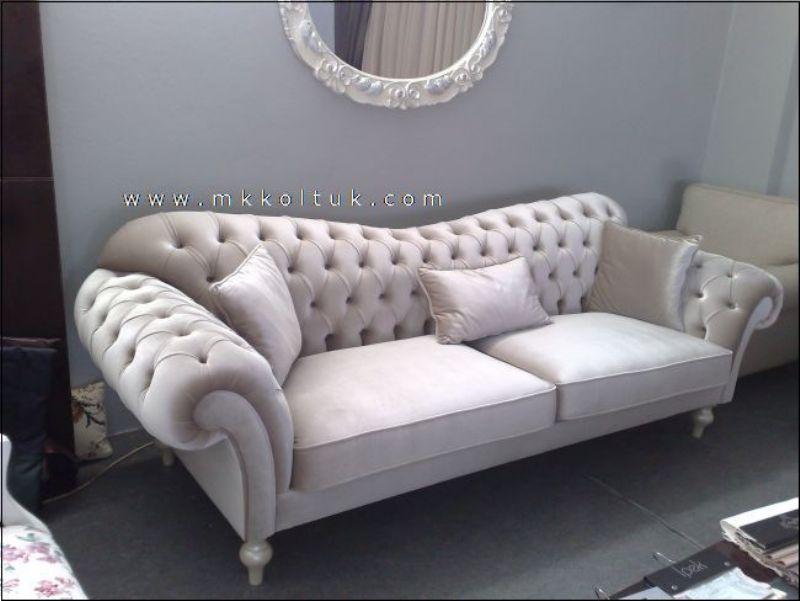 Velvet Chesterfield Seat Sofa In Cream High Quailty