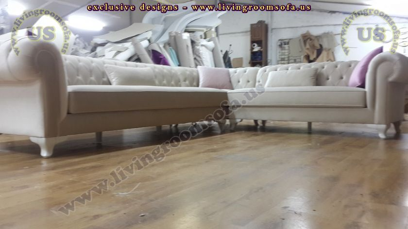 White Ice Velvet L shaped chesterfield new design