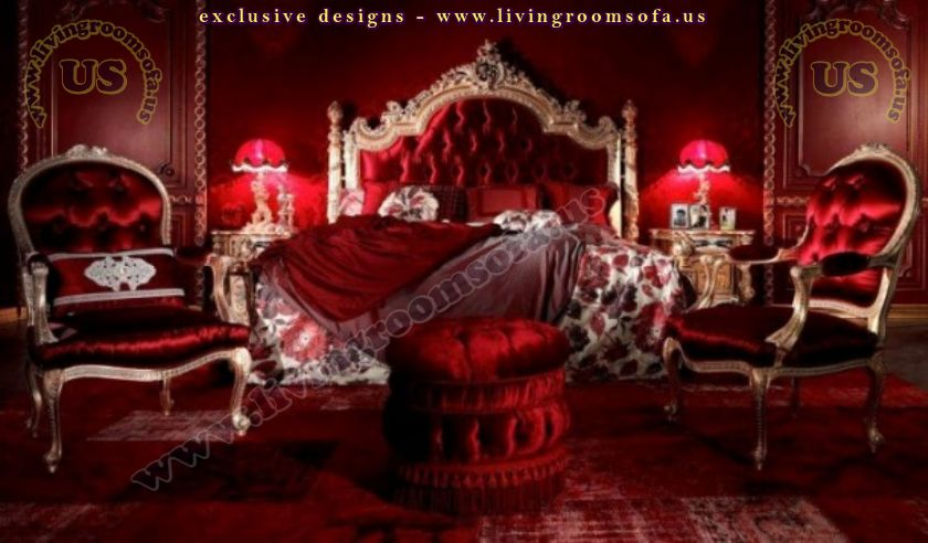 amazing carved bedroom furniture red classic