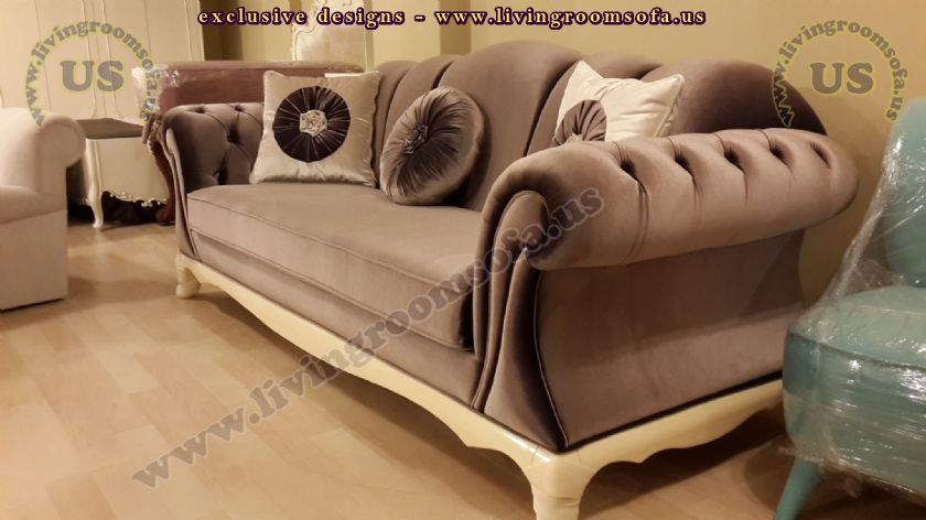 avantgarde couch velvet modern shiny brown design