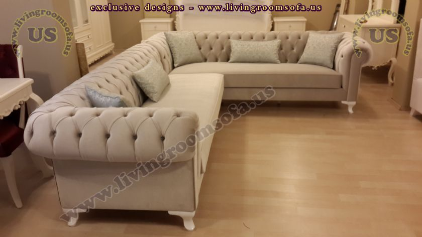 Beige Chesterfield Sofa Classic Style Corner Sofa Exclusive - Classic sofa styles