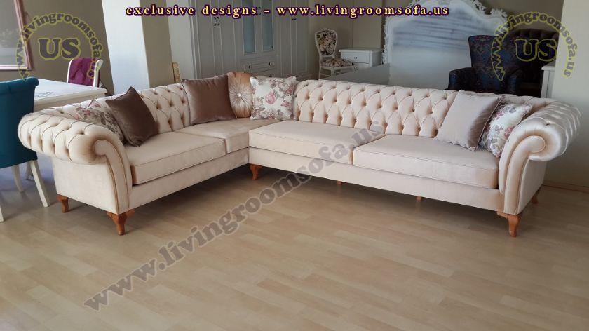 beige velvet new design chesterfield sofa l shaped
