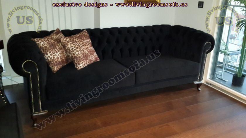 black fabric chesterfield sofa design