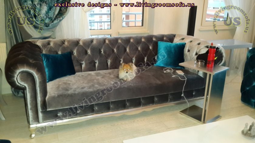 black velvet shiny chesterfield couch design