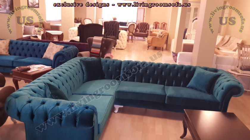 blue chesterfield corner sofas