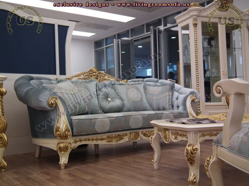 golden fabric classic sofa set living room design ...