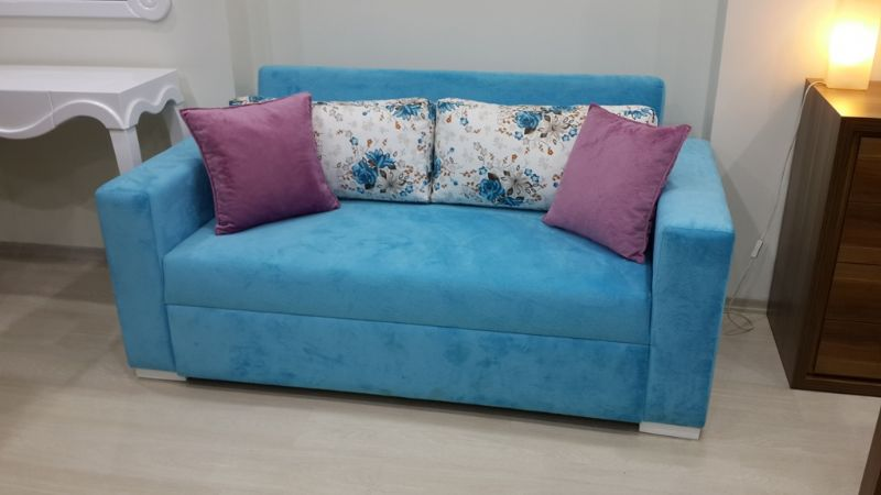 blue living room sofa design